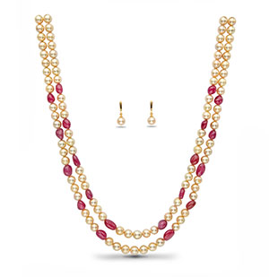 Real Ruby Beads andGolden Saltwater Akoya Pearls Necklace Set