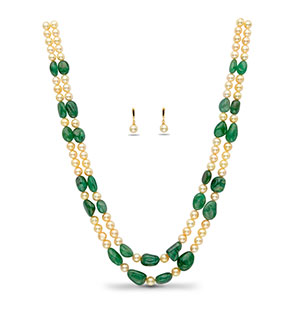 Real Emerald Beads and Golden Saltwater Akoya Pearls Necklace Set
