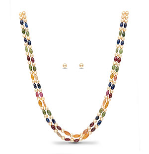 Navratan Beads and Golden Saltwater Akoya Pearls Necklace Set
