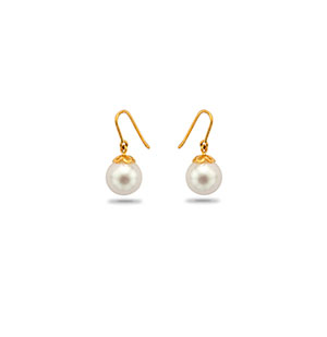 Gold with White South sea Pearls Drop Earrings
