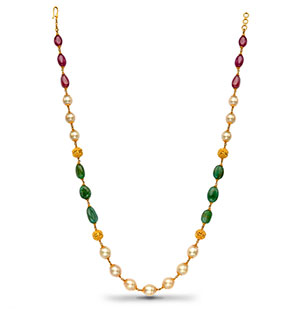 Gold balls with Ruby Emerald South Sea Pearls Necklace