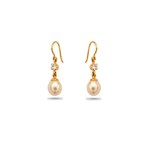 Gold with Pearl and Stone Earrings