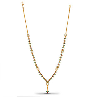 Designer Gold with Pearls and Real Ruby Emerald Necklace