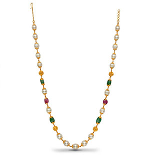 Gold Balls with Pearls Ruby Emerald Necklace