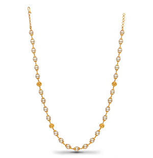 Gold Balls with Saltwater Pearls Necklace