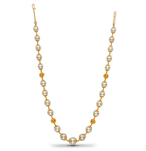 Gold Balls with South Sea Pearls Necklace